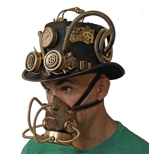 Ultimate Steampunk Hat And Gas Mask Respirator Costume Set Gold
