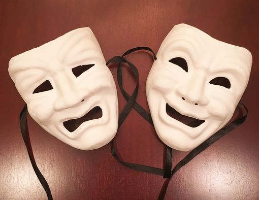 Unpainted Comedy & Tragedy Mask Set
