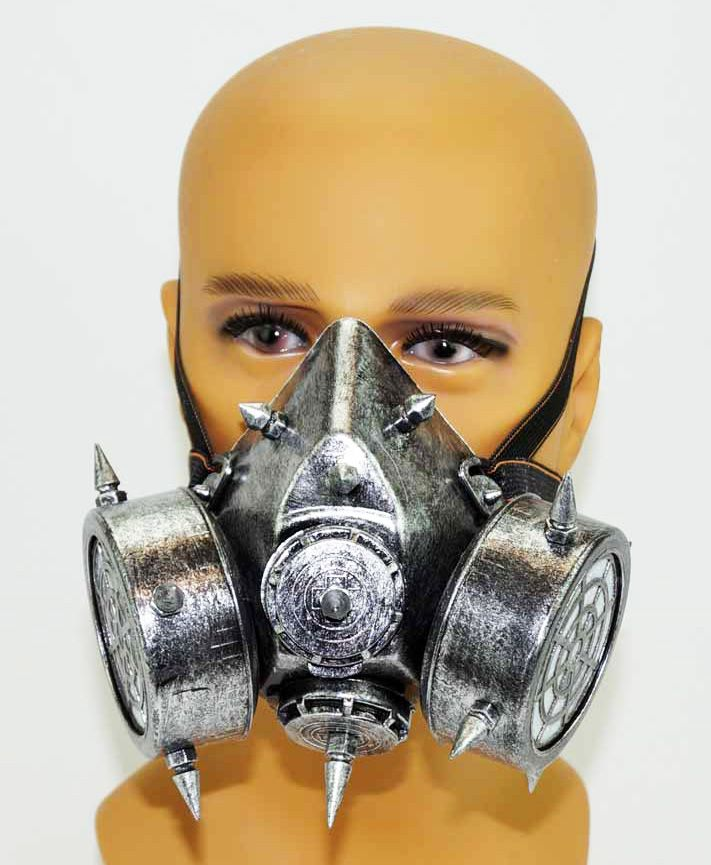 Silver Respirator Gas Mask Steampunk Costume Accessory