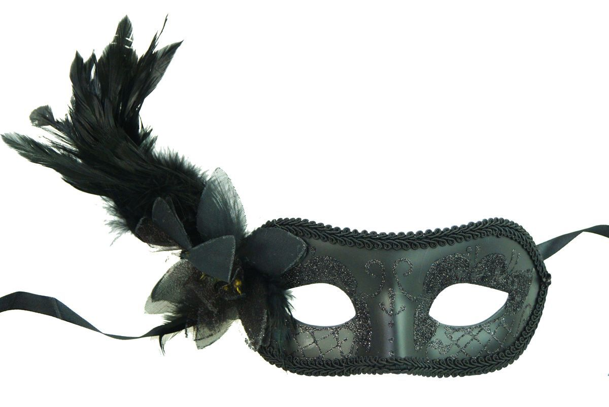 Valentino Masquerade Mask With Feathers Black