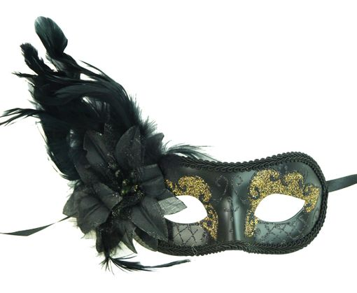 Valentino Masquerade Mask With Feathers Black Gold