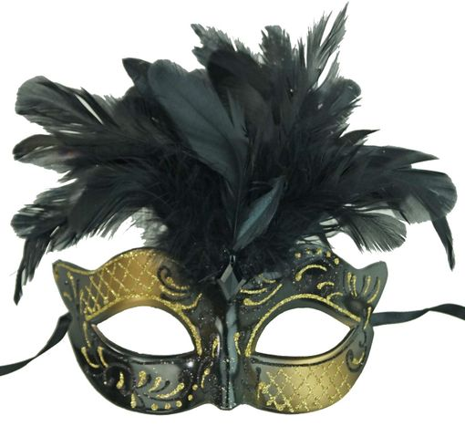Vegas Masquerade Feather Mask Black