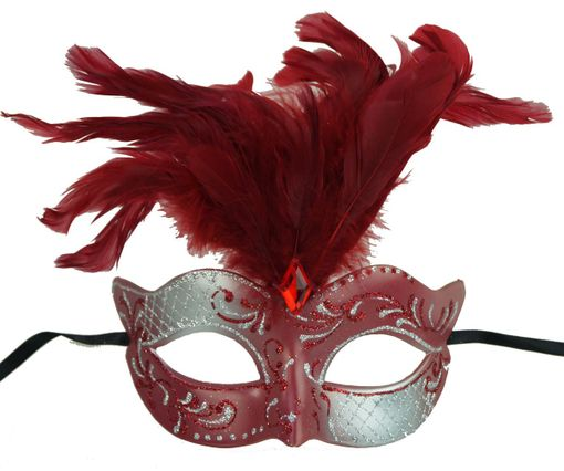 Vegas Masquerade Feather Mask Red And Silver