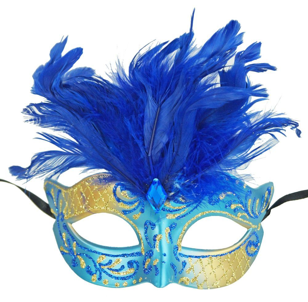 Vegas Masquerade feather Party Mask Blue