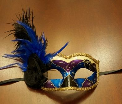 Venertian Masquerade Eye Mask Purple/Blue With Feathers