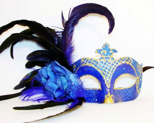 Venetian Blue Feather Eye Mask