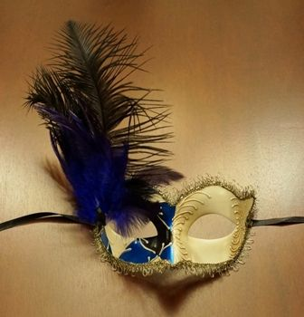 Blue Venetian Masquerade Mask With Feathers