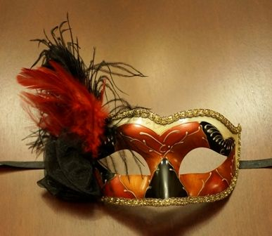 Venetian Eye Masquerade Mask Red/Copper With Feathers