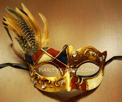 Venetian Masquerade Eye Mask Gold/Red/Blue With Feathers