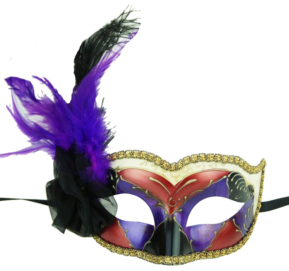 Venetian Masquerade Eye Mask Copper/Purple With Feathers