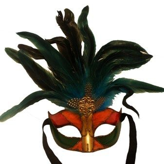 Blue Venetian Feather Masquerade Eye Mask With Feathers