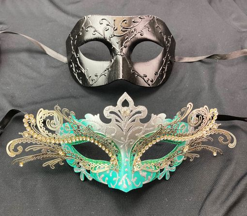 Venetian His And Hers Couples Mask Set Turquoise