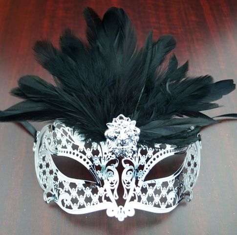 Venetian Lazer Cut Masquerade Eye Mask With Feathers Black
