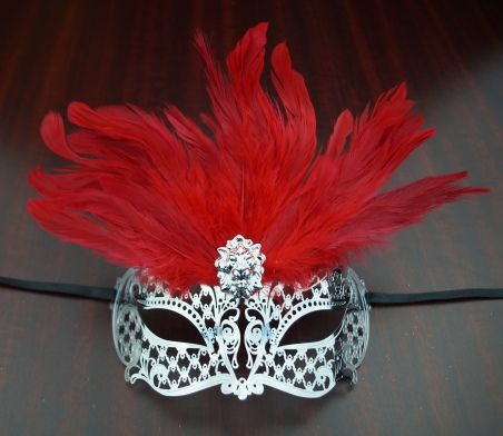 Venetian Lazer Cut Masquerade Eye Mask With Red Feathers