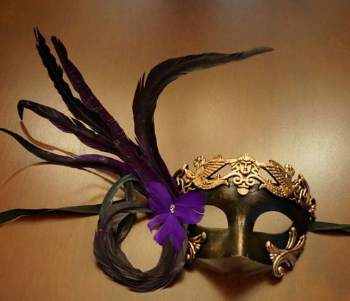 Venetian Mask with Purple Feather