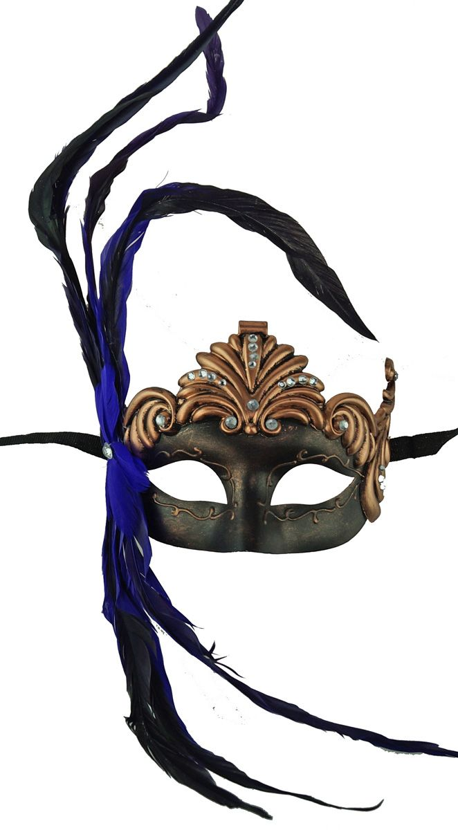 Bronze Roman  Masquerade Mask with Purple Feathers