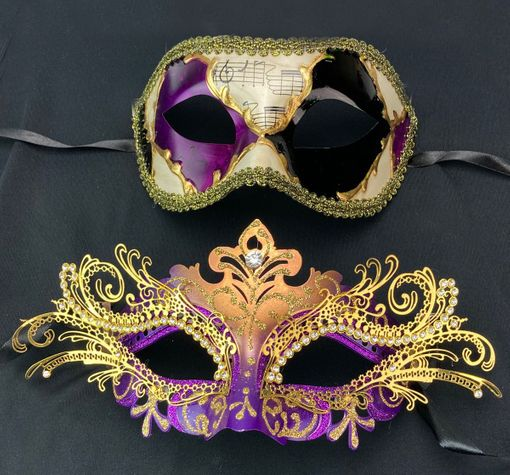 Venetian Masquerade Mask Couples Set Purple And Gold