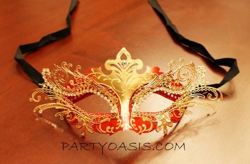 Venetian Metal Masquerade Eye Mask Red