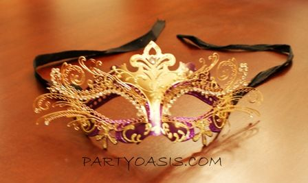 Venetian Metal Eye Masquerade Mask Purple