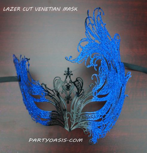 Venetian Metal Lazer Cut Masquerade Mask Black And Blue