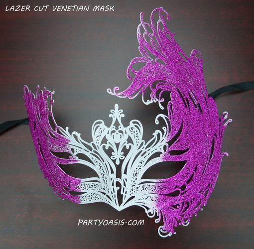 Venetian Metal Lazer Cut Masquerade Mask White And Purple