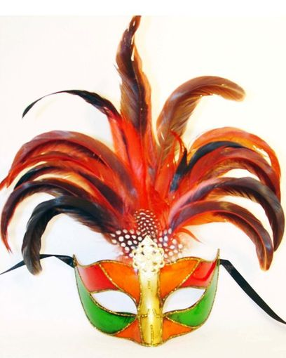 Venetian Princess Feather Masquerade Eye Mask With Feathers