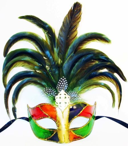 Venetian Princess Green Feather Masquerade Eye Mask