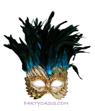 Aqua Venetian Warrior Masquerade Mask With Feathers