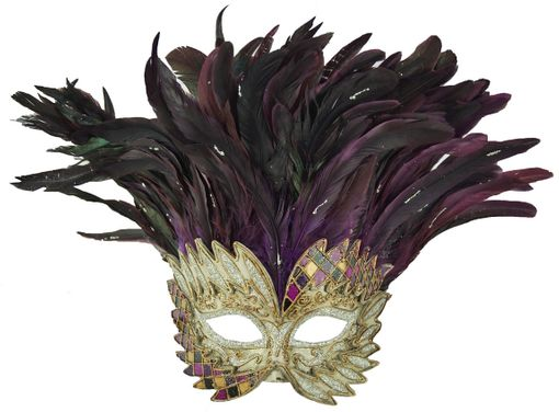 Purple Venetian Warrior Masquerade Mask With Feathers