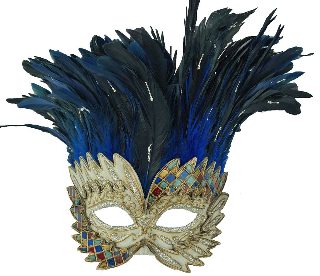 Blue Venetian Warrior Masquerade Mask With Feathers