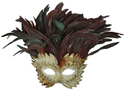 Dark Brown Venetian Warrior Masquerade Mask With Feathers