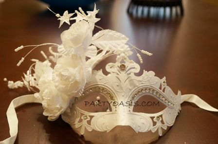 Venetian White Masquerade Mask Popular For Weddings