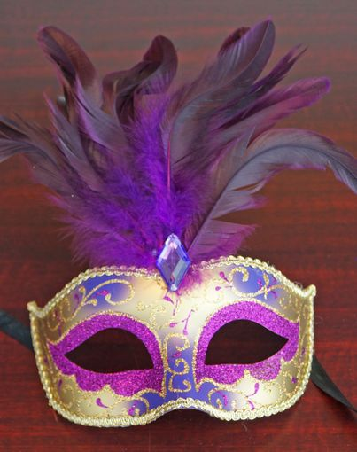 Venezia Feather Eye Mask Purple