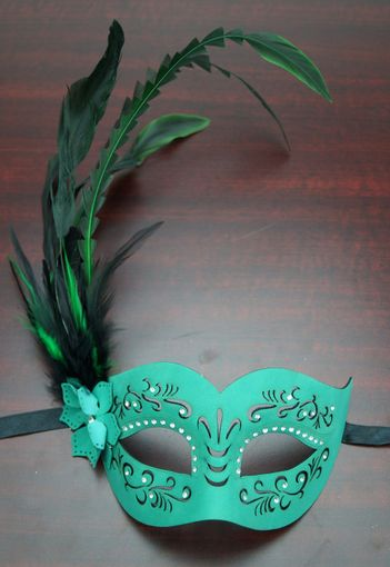 Veronica Feather Mask Teal