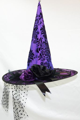 Vintage Floral Purple Witch Hat
