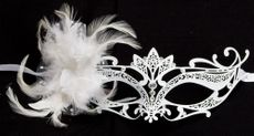 White Wedding Masquerade Feather Mask