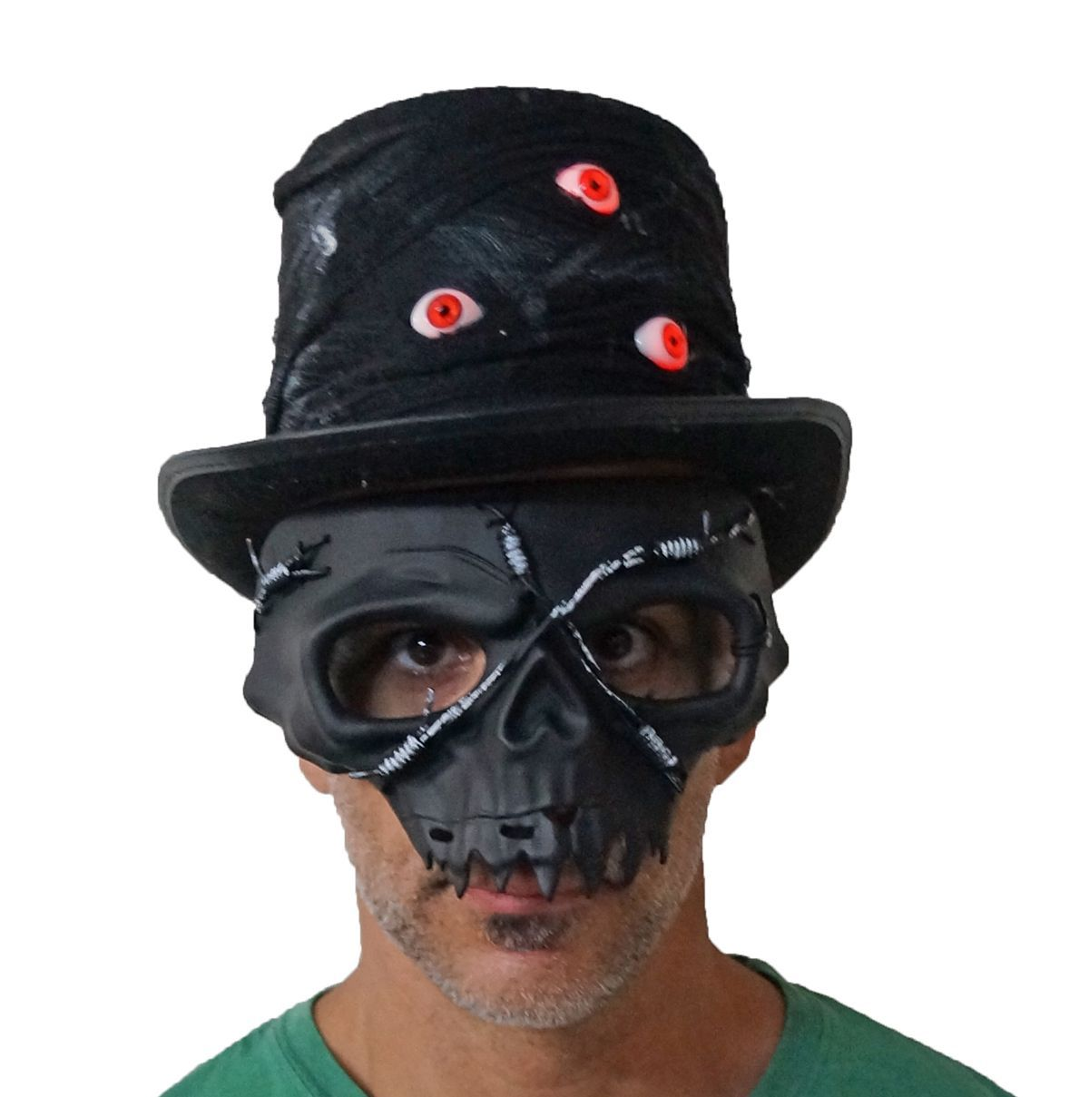 Voodoo Zombie Light Up Eyeball hat With Skull Mask Set
