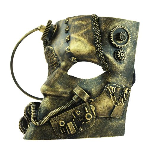 Men's Full Face Steampunk Mask With Gears Gold