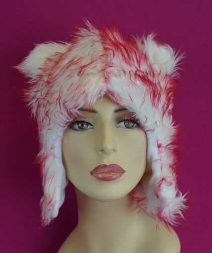 White and Red Fur Hat