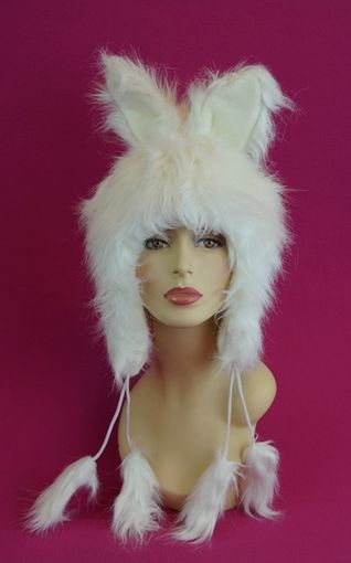 White Faux Fur Bunny Hat