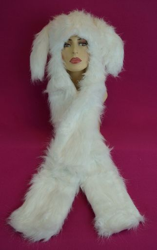 White Faux Fur Bunny Hat with Mittens