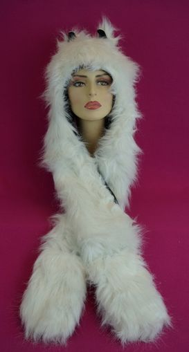 White Faux Fur Wolf Hat with Mittens