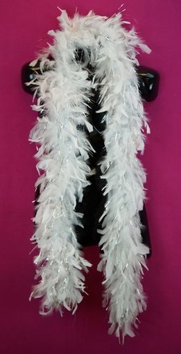 White Feather Boa with Silver Tinsel