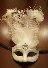 White Feather Masquerade Wedding Mask