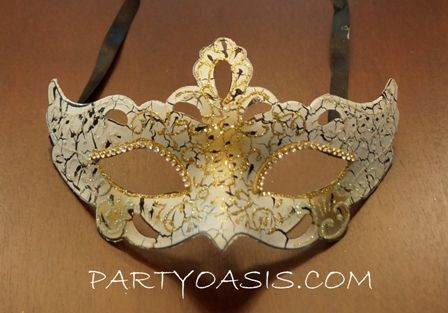 White Gold Masquerade Mask