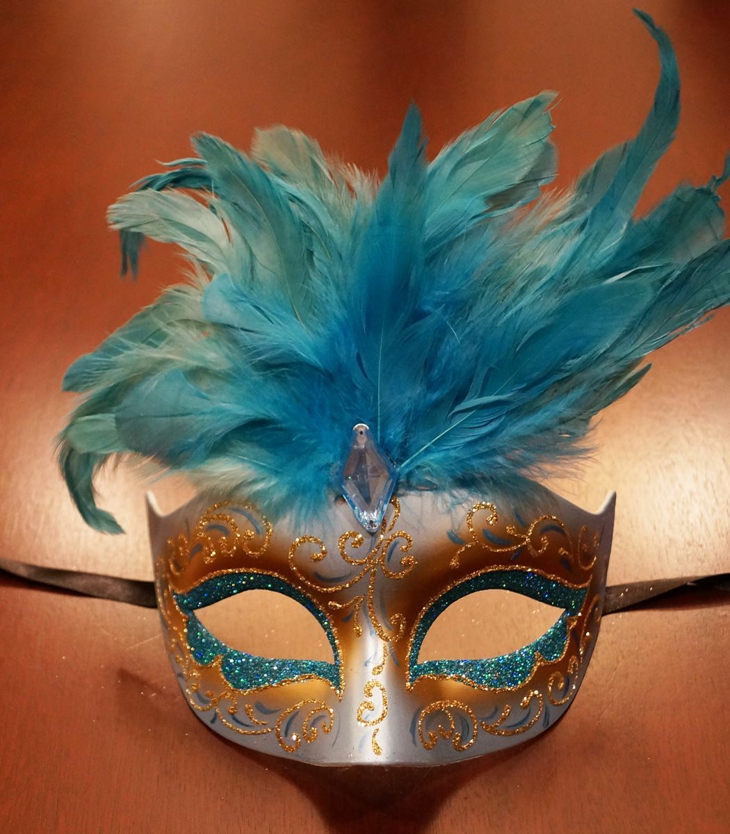 Women's Cosmo Blue Masquerade Mask With Feathers