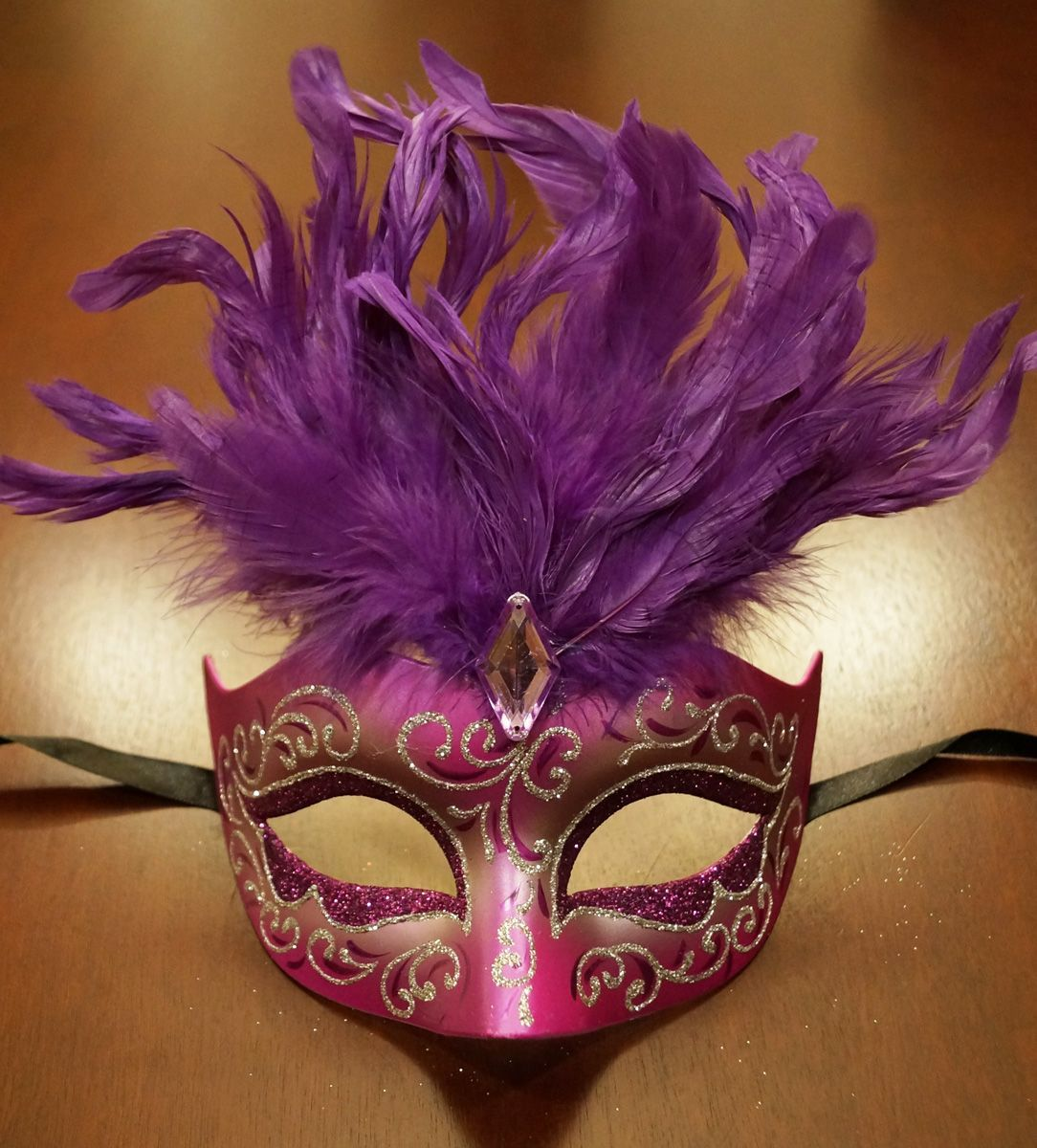 Women's Cosmo Purple Feather Masquerade Mask With Feathers