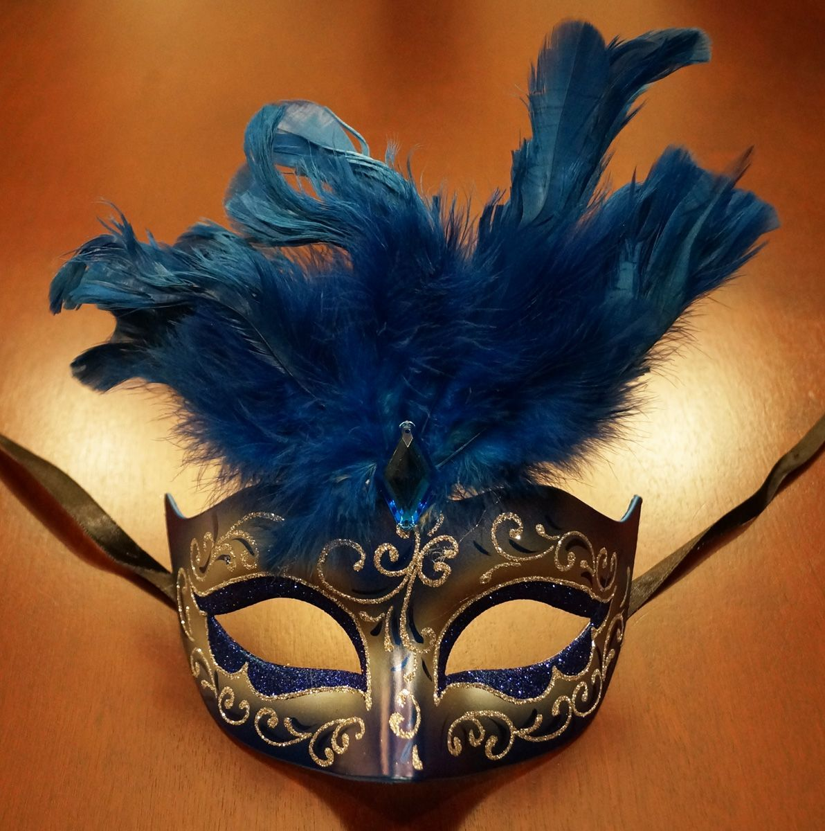 Women's Cosmo Masquerade Mask Blue With Feathers