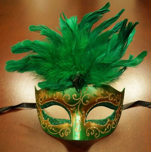 Women's Cosmo Masquerade Mask Green With Feathers