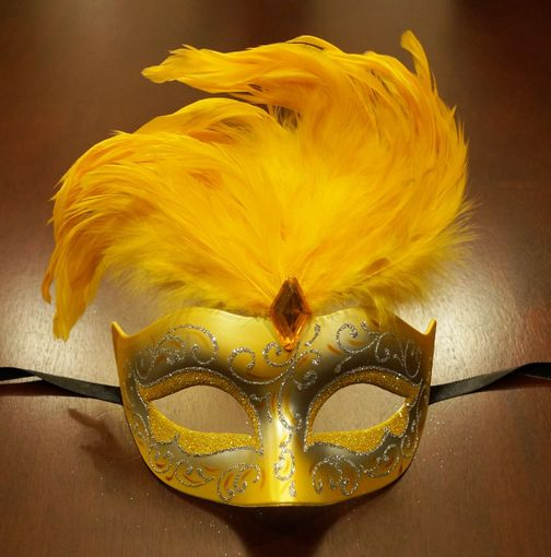 Women's Cosmo Masquerade Mask Yellow With Feathers